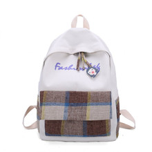 Fresh Backpack England Style Grid School Bag for Teenage Girls Lightweight Canvas Leisure Or Travel Rural sty Cute Book