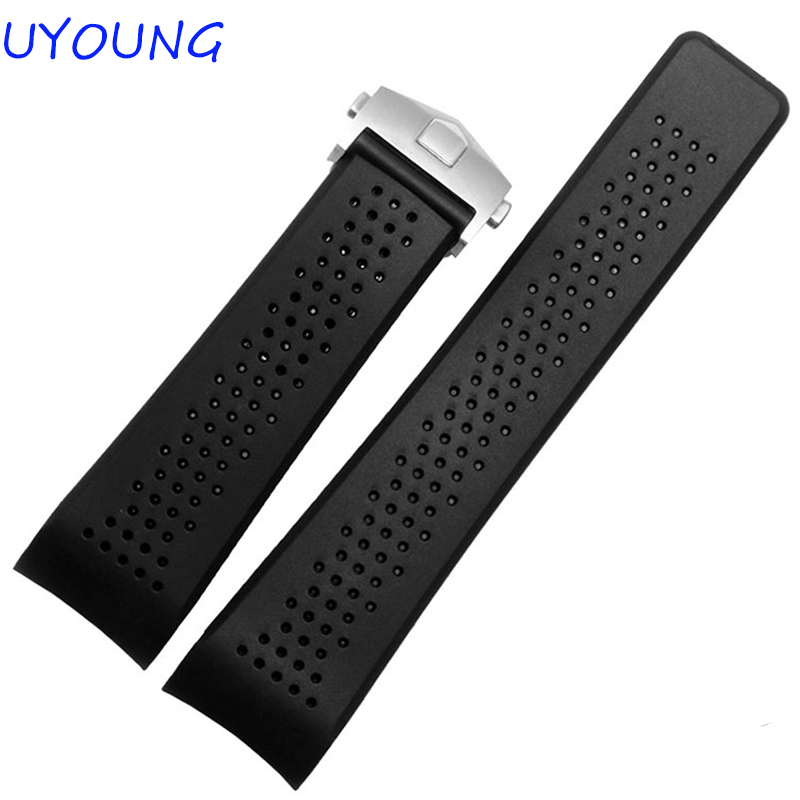 22mm24mm new men's black diver bent end silicone rubber watch straps and deployment buckle with special interface Strap Bracelet стоимость