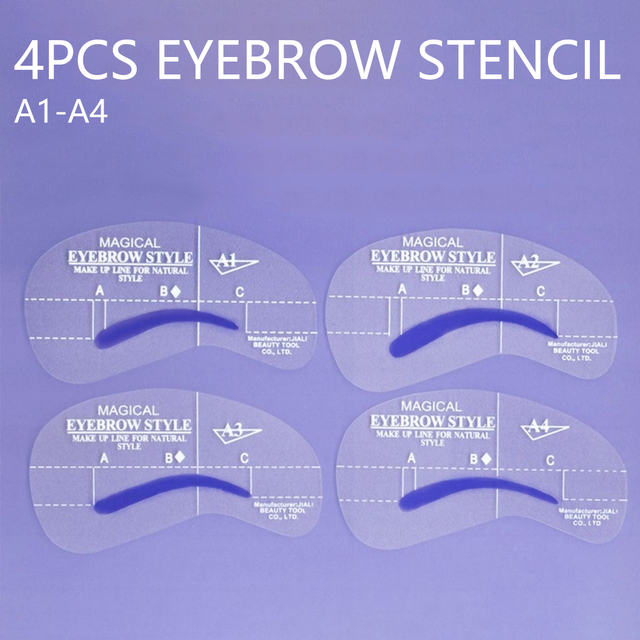4pcs Kit Grooming Style Makeup Template Tools Eyebrow Stencil DIY Beauty Cosmetic Model Drawing Card Shaping A1-A4 3