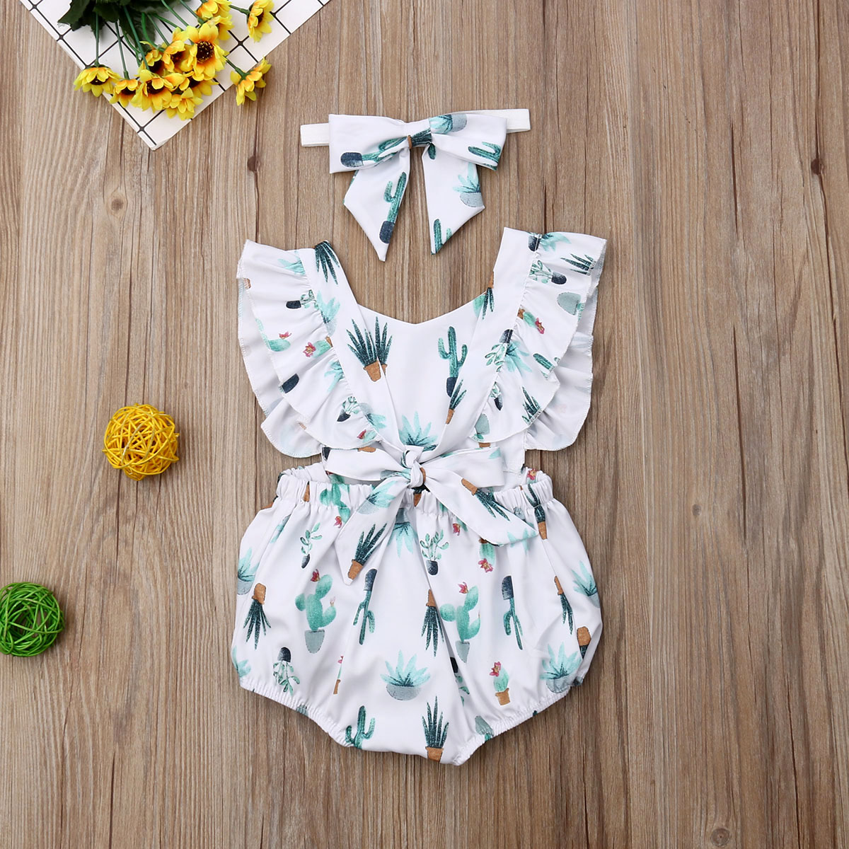 For Newborn Baby Girl Bodysuit Jumpsuit + Headband 2pieces Set