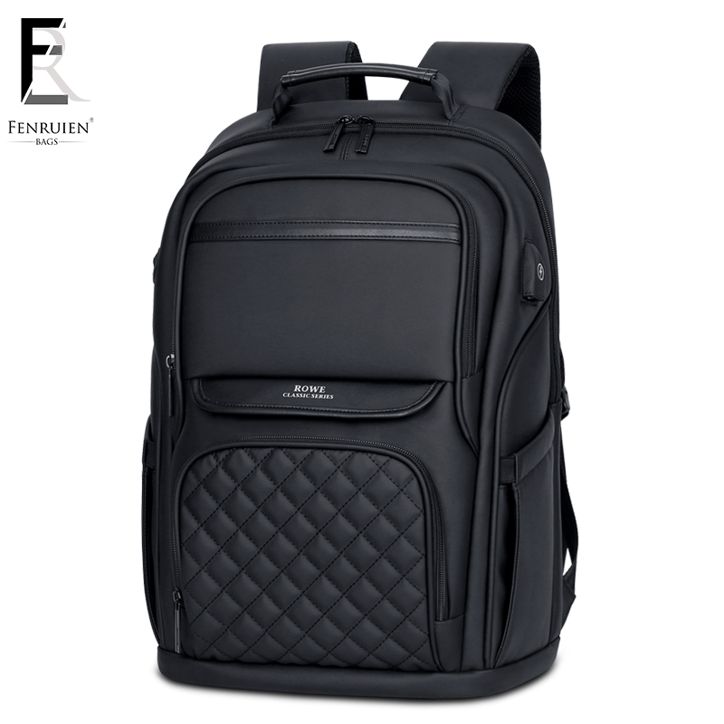 FRN Business Men s Backpack Black USB Charging Anti Theft Laptop Backpack 15 6 Inch Male
