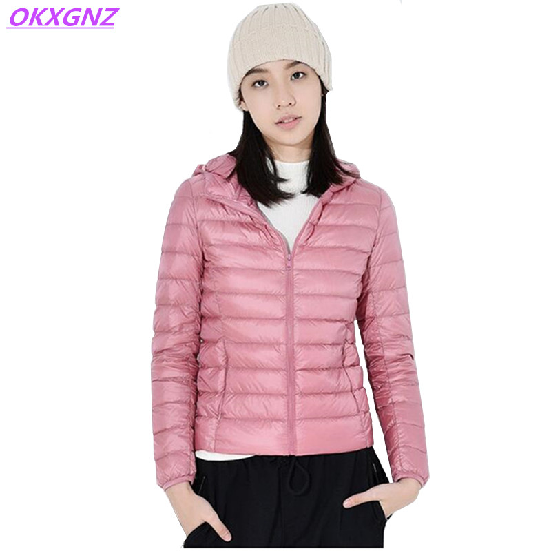 New Short Down Cotton Jackets Winter Women's Light Thin Warm Coats Fashion Hooded Parkas Plus Size Slim Student Outerwear OKXGNZ bishe women winter down jacket warm long parka femme 2017 faux fur collar hooded cotton padded parkas female manteau femme 4xl