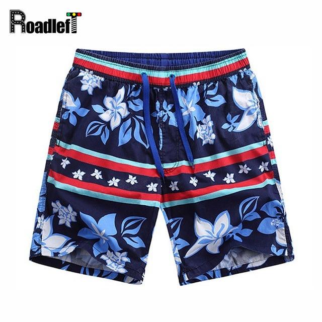 Shorts d'été Hommes Imprimer Vêtements de Plage Cool Casual De Marque Bleu Fleurs Coton Sq1pR