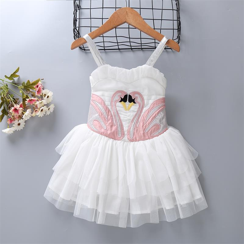 Bongawan Girls' Removable Swan Wing Show Dresses Angel Flamingo Dress Girls for Kid Pincess Dress for Wedding Free Shipping flamingo patch zipper swing dress