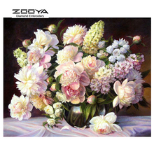 ZOOYA Diamond Embroidery 5D DIY Painting Flowers, White Peony Cross Stitch Rhinestone Mosaic BJ1485