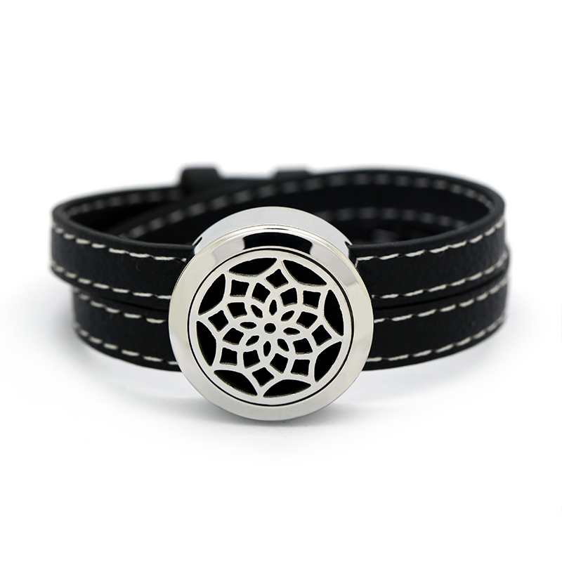 BOFEE Lotus Aromatherapy Diffuser Bracelet Essential Oil Locket Chain Stainless Steel Screw Yoga Locket Leather Jewelry 25mm in Charm Bracelets from Jewelry Accessories