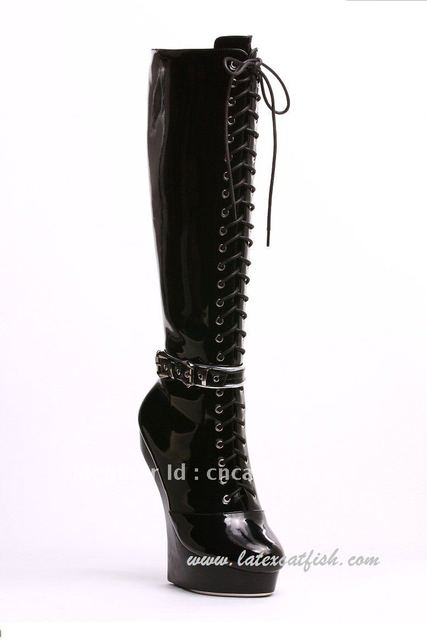 Free shipping black platform knee sky high heel boots with bondage