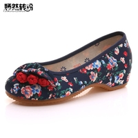 Women Flats Ballet Shoes Floral Printed Casual Denim Cotton Chinese Buttons Ladies Slip On Canvas Shoes