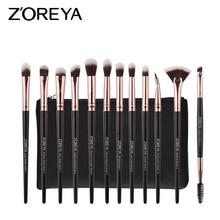ZOREYA Eye Makeup Brush Set 12pcs Pro Rose Gold Eye Shadow C