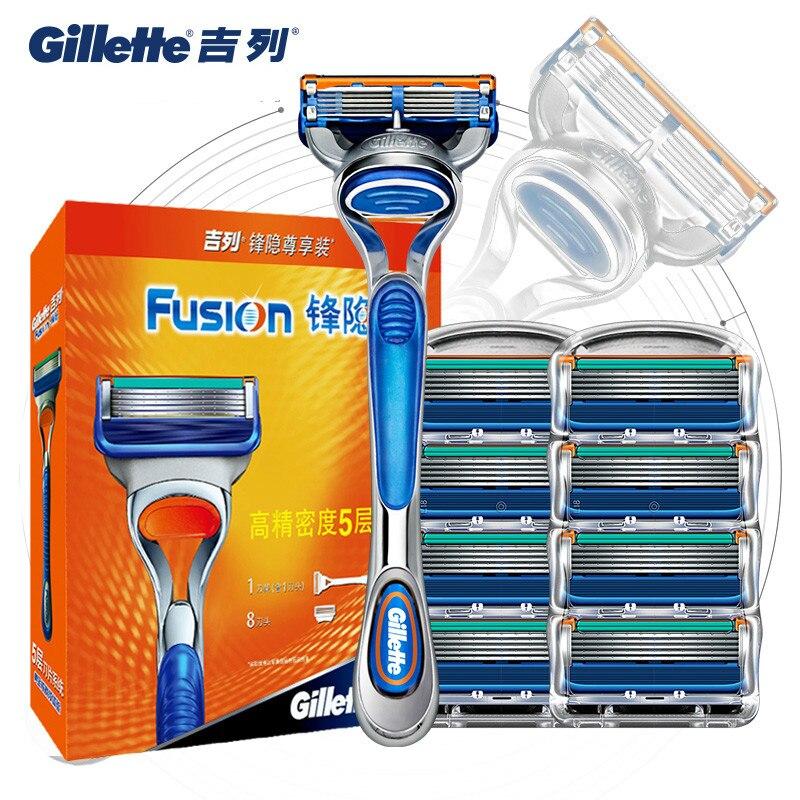 Original Gillette Fusion Men Shaver Razor Blade Replacement Head For Men Manual Safety Shaving Blades Holder Razor Blade Set