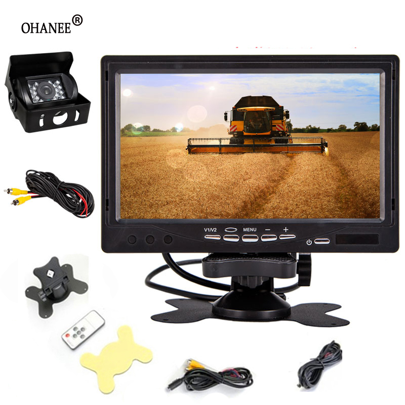 2018 new 7 car Rear view Reverse Camera with 7 Inch TFT Monitor LCD Display Screen Car RearView parking camera for trucks bus hikity 7 inch lcd car monitor rearview screen hdmi vga dvd digital rear view display hd resolution for rearview reverse camera