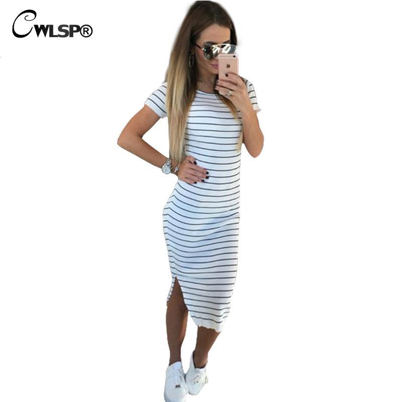 CWLSP Fashion Summer Striped Dress Womens