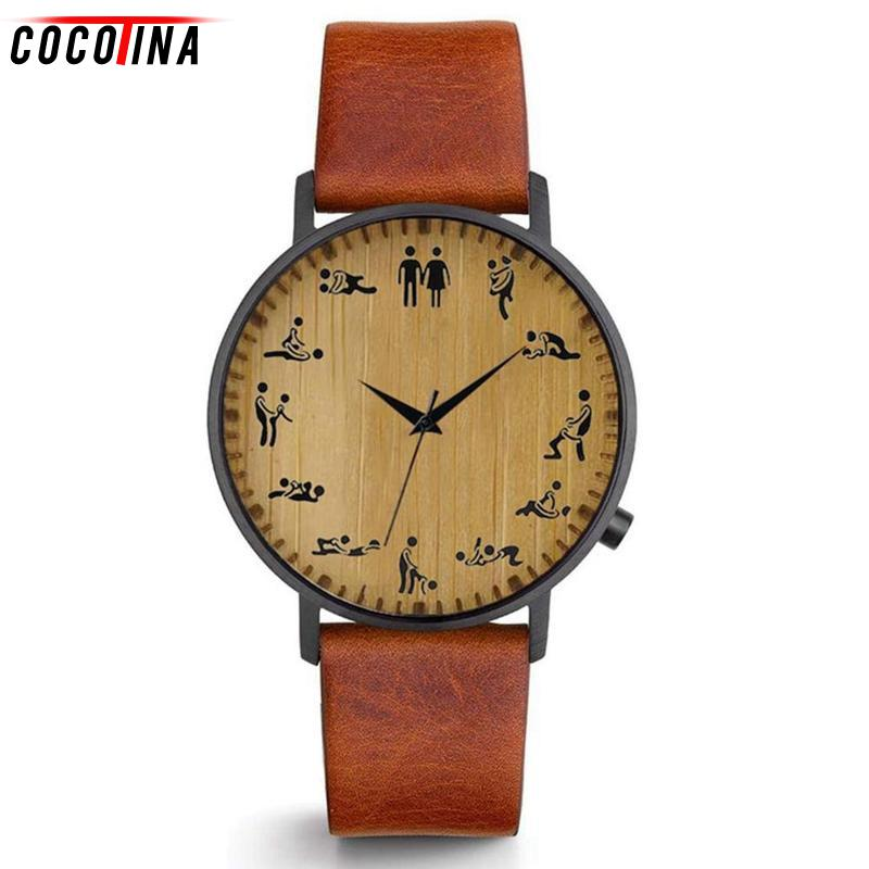 Cocotina Top Luxury Creative Men Watch Sex Make Love Pattern Leather Strap Quartz Watches Men Wristwatch Bamboo Wooden Watches simple casual wooden watch natural bamboo handmade wristwatch genuine leather band strap quartz watch men women gift