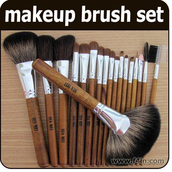 18 PCS Brown Makeup Brushes Cosmetic Brush Make up bursh Set Kit Free Shipping Wholesale big discount 32 pcs cosmetic facial make up brush kit makeup brushes tools set black leather case free shipping
