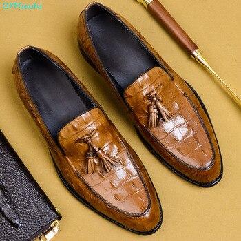 QYFCIOUFU Männer Europäischen Stil Handarbeit Aus Echtem Leder Mens Quaste Formale Schuhe Büro Business Hochzeit Anzug Kleid Schuhe UNS 11,5