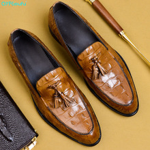 QYFCIOUFU Men European Style Handmade Genuine Leather Mens Tassel Formal Shoes Office Business Wedding Suit Dress US 11.5