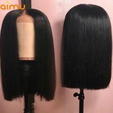 13x6 предварительно выщипать Блант Cut Боб Синтетические волосы на кружеве парик с ребенком волосы 250 Плотность Прямо перуанский девственница человеческих волос парики для черный Для женщин