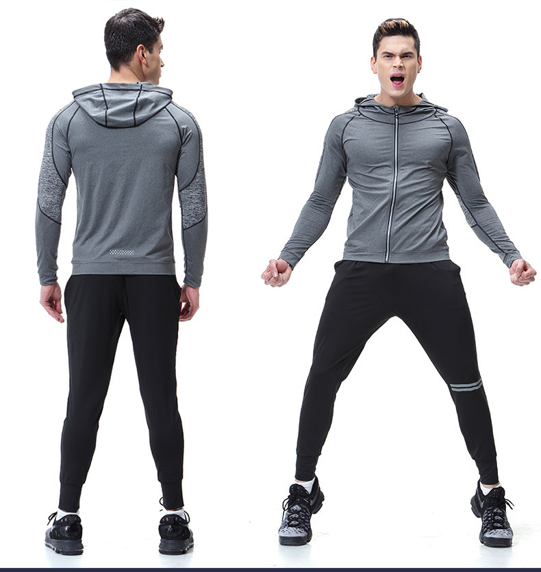 3cb1380744f 2019 Zipper Hooded Jacket Fitness Clothing Long Sleeved Sports Quick ...