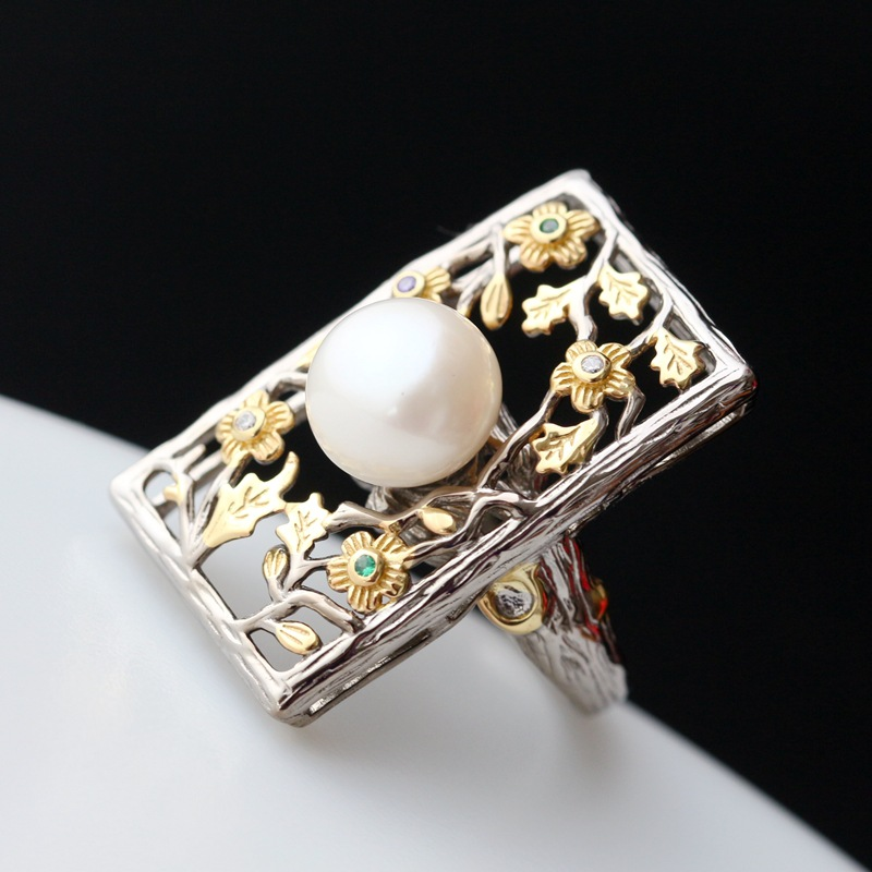 Inlaid natural pearl Thai silver ring 925 sterling silver wide face index finger female ring night sky and cats 925 sterling silver female silver ring