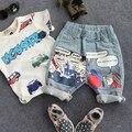 Nuevo 2016 niños del verano forman medio pant niños vaqueros niños jeans de moda los niños ropa de verano