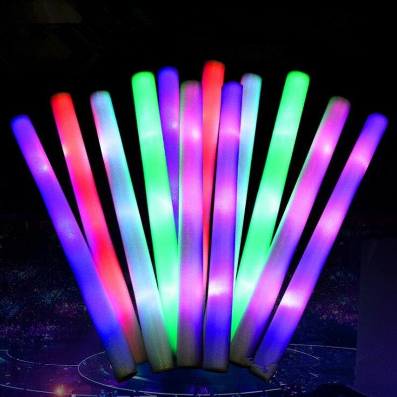 LED Flashing Foam Sticks Glowing Sticks Birthday Favor Toys Bar KTV Concert Cheer Props Rave Glow Party  Christmas Halloween-in Suministros luminosos para fiestas from Hogar y Mascotas    3