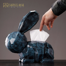 Creative Nordic rabbits tissue box Abstract rabbit bunnys figurine  home decor craft jars Modern accessories
