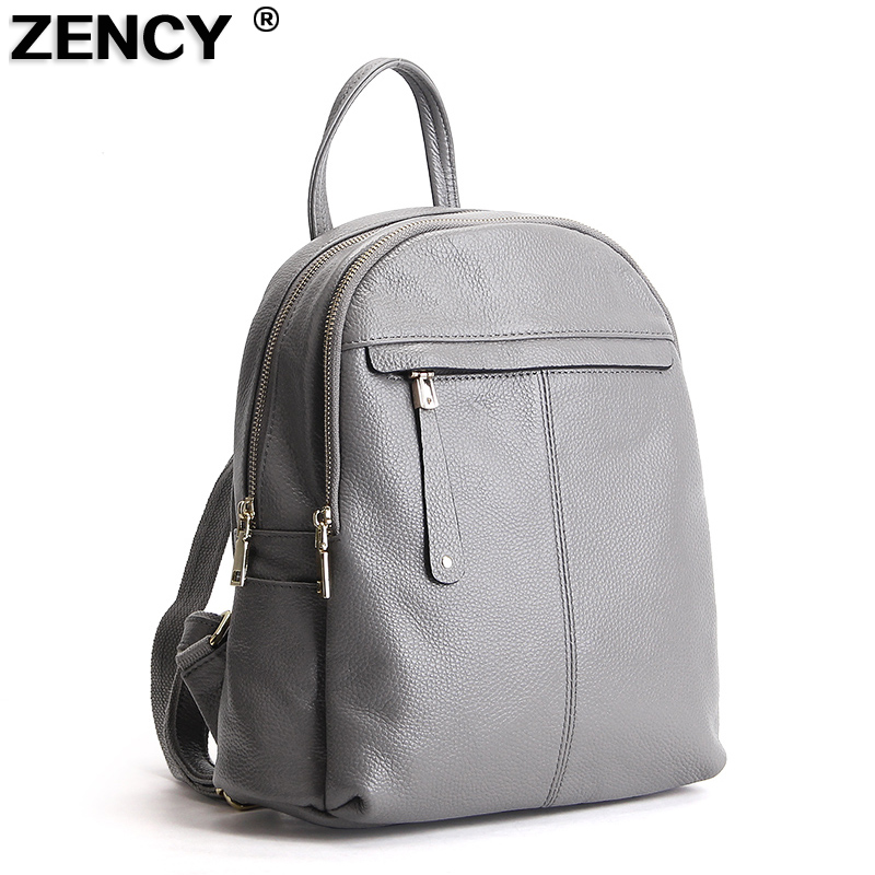 ZENCY 2018 Fashion Soft Genuine Cow Leather Women Ladies Girls Backpack Top Layer Cowhide School Bag Female Knapsack Rucksack zency genuine leather backpacks female girls women backpack top layer cowhide school bag gray black pink purple black color