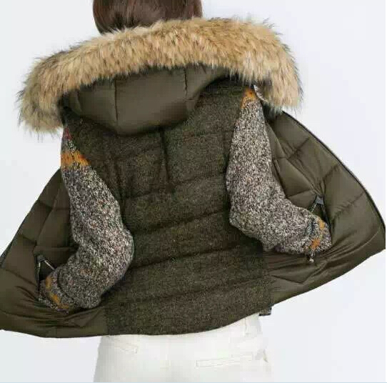 2015 Winter Fashion Women Faux fur Hooded Quilted Waistcoat Back Knitted Patchwork Sleeveless Padded Jacket Coat With pockets