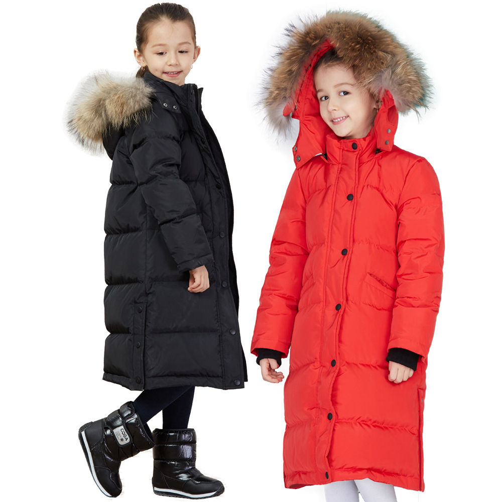 Winter Down Jacket Parka for Baby Girl Fur Hooded Long Coat 6 8 10 12 14 years 2018 new Winter Children Clothing christmas cotton padded parkas teen winter coat girl long red pink black hooded warm winter jacket for girl 6 years 8 10 12 14