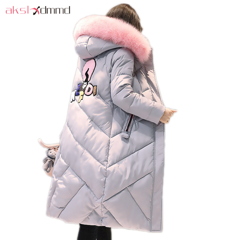 AKSLXDMMD Fashion Pink Fur Collar Hooded Jacket 2017 New Winter Women Pattern Letters Thick Long Coat Female Jackets LH1082 akslxdmmd fashion casual winter thick hooded jacket 2017 new parka women parttern letters mid long coat female overcoat lh1227