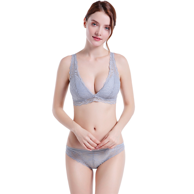 Bra Set for Women Ultra-thin No Wire underwear Briefs Lace Sexy and Panty Sets Lingerie panty set  Seamless Cotton
