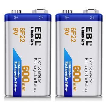 EBL 2PCS 6f22 600mAh 9v rechargeable li-ion battery large capacity eco-lithium battery for GPS,LED lighting paintball gun Battery Chargers
