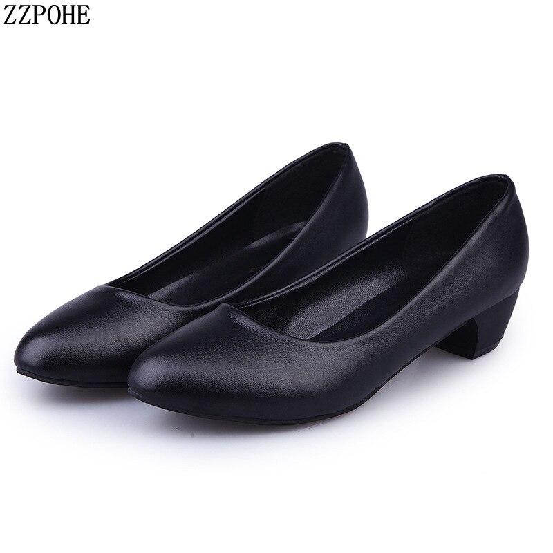 Woman Shoes Spring Autumn Leather Low Heels Women Pumps Women Office Shoes Women's Footwear Slip On High Heels Wedding Shoes
