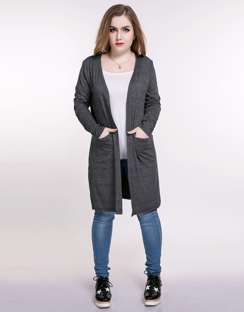20ca97a40ca Cute Ann Women s Plus Size Duster Jackets Pocket Design Long Sleeve  Stretchy Gray Duster Coat Cardigan Spring Casual Wear