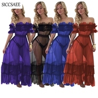Plus Size Ball Gown See Through Ruffles Backless 3 Piece Set Women Underwear Maxi Dresses Long Tulle Swing Nude Skater Dress