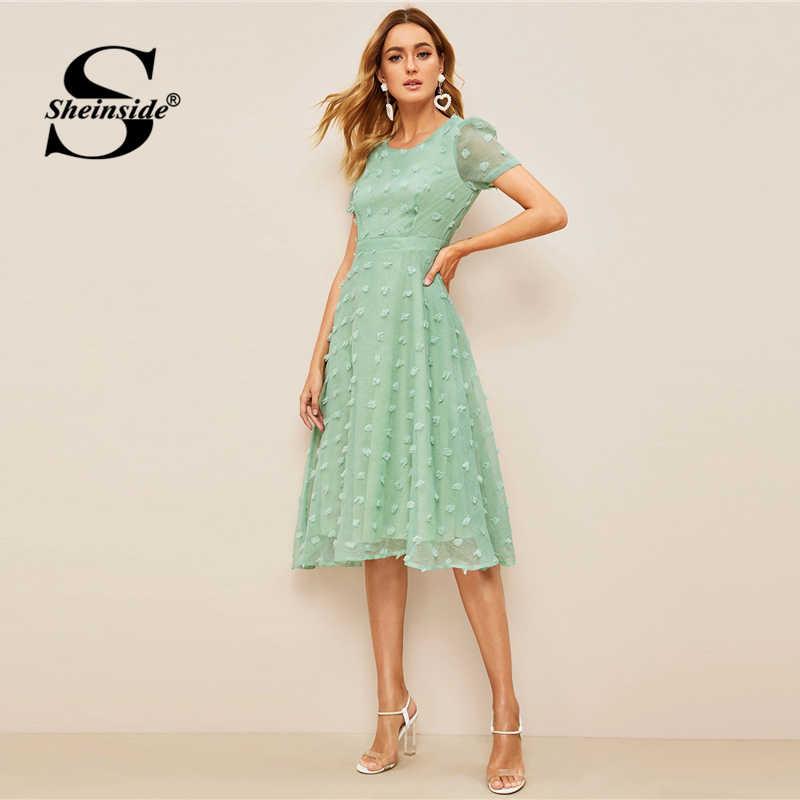 Sheinside винтажное платье в горошек с аппликацией женское 2019 летнее платье с коротким рукавом с высокой талией женское зеленое платье на молнии сзади