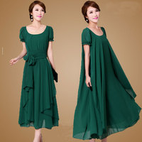 Plus Size M 4XL Summer Dress 2016 New Women S Chiffon Dress Loose Slimmer Flouncing Full