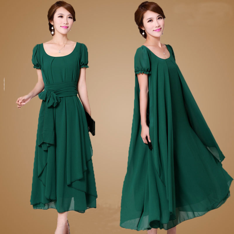 Buy Cheap Plus size M-4XL Summer Dress 2017 New Women's Chiffon Dress Loose Slimmer Flouncing Full Dress Free shipping