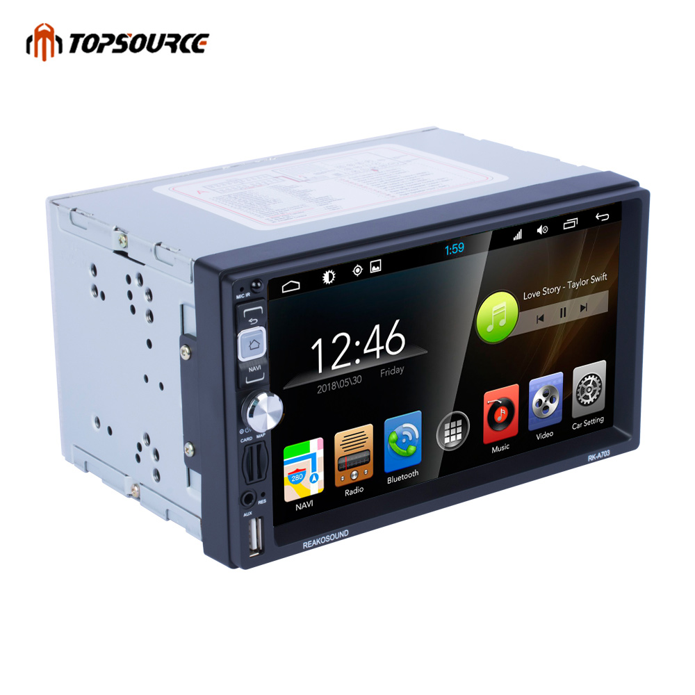 TOPSOURCE Car Mp5 Player 7 Inch for Android Stereo Radio Bluetooth with Gps Hd Screen Touch Display Bt Wifi Am/fm Audio With Usb