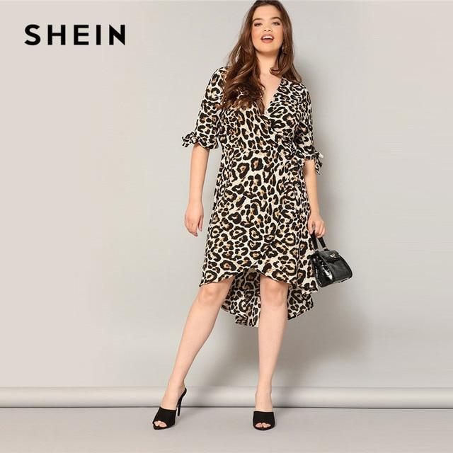 5b6d7d6222b SHEIN Plus Size Tied Cuff High Low Hem Leopard Print Wrap Belted Midi Dress  Women Summer Elegant Half Sleeve V neck Party Dress