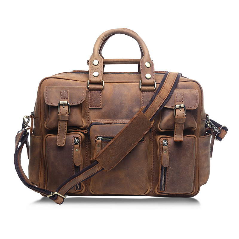 Large Men Crazy Horse Leather Genuine Leather Handbags Several Pockets Leather Messenger bags Men A4 Bags Male Shoulder Bags