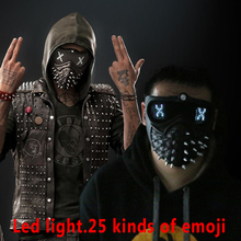Watch Dogs 2 Mask Marcus LED Light Mask Rivet Face Mask Cosplay Handmade Mask Halloween Party Prop