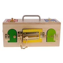 Wooden Montessori Practical Material Little Lock Box Kids Educational Toy