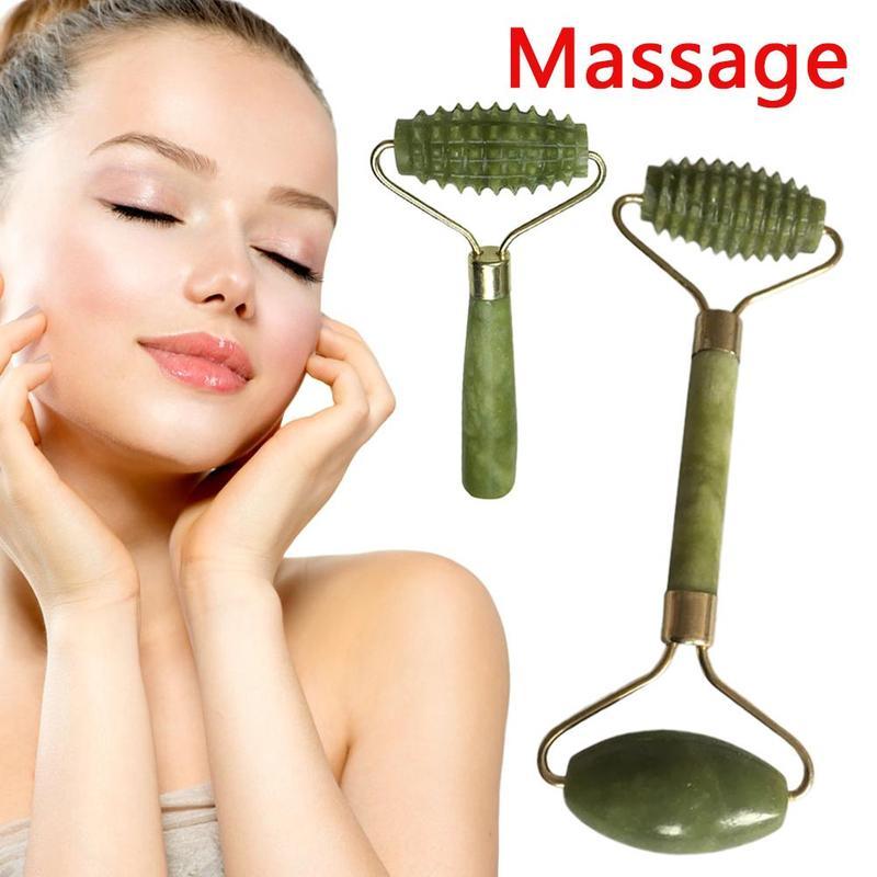1 Pc Doppel Kopf Gesichts Massager Roller Natürliche Grüne Jade Gesicht-hebe Werkzeug Tragbare Abnehmen Körper Kopf Hals Gesicht Massage Werkzeuge