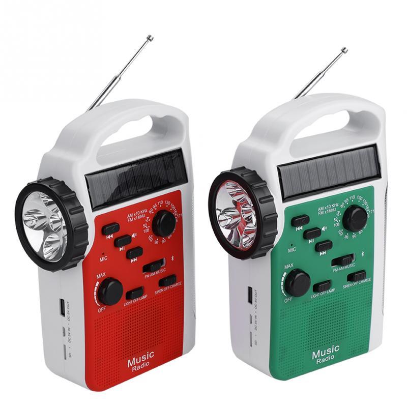 VBESTLIFE AM FM Radio 6-108 mhz FM530-1710KHz Solaire Manivelle Radio LED lampe de Poche Bluetooth Mains-Appel gratuit antibruit