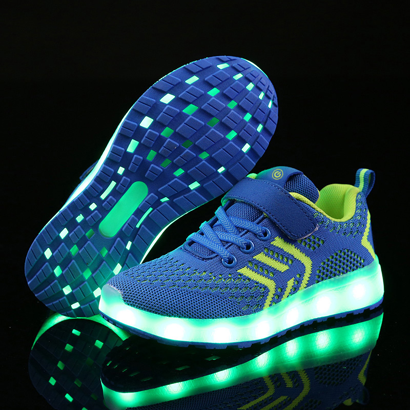YPYUNA 2018 New 25-37 USB Charger Glowing Sneakers Led Children Lighting Shoes Boys/Girls illuminated Luminous Sneaker