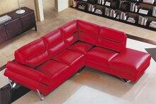 Vaca genuino / real sofás de cuero salón sofá seccional / sofá de la esquina de muebles para el hogar sofá en forma de L moderna leer color