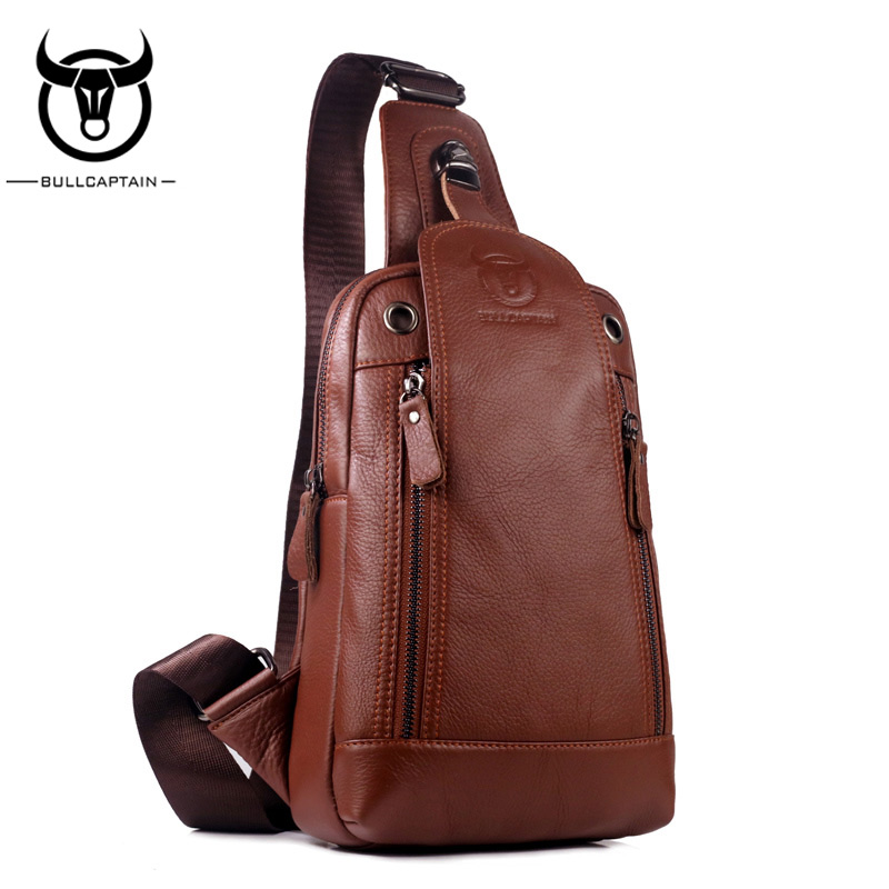 BULLCAPTAIN 2018 Fashion Genuine Leather Crossbody Bags men Small Brand music messenger bags Male Shoulder Bag chest bag for men