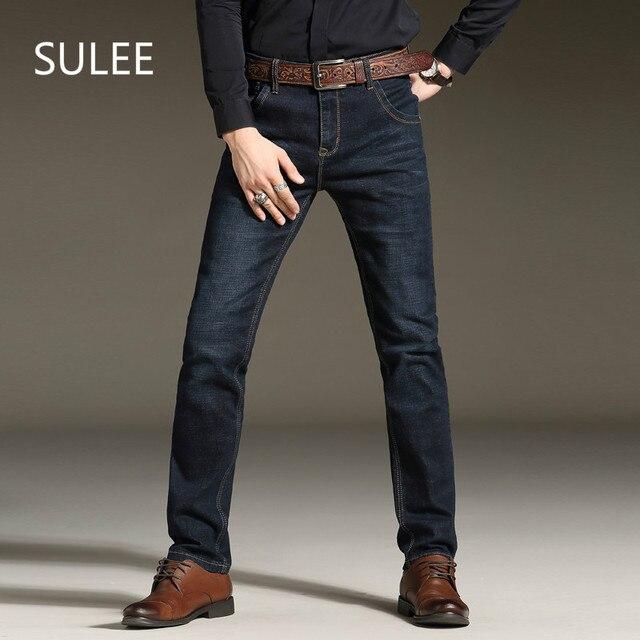 Sulee бренд 2017 для мужчин стрейч джинсы для женщин модные простые повседневное Бизнес Брюки Slim Fit прямые Средний мыть Джинс