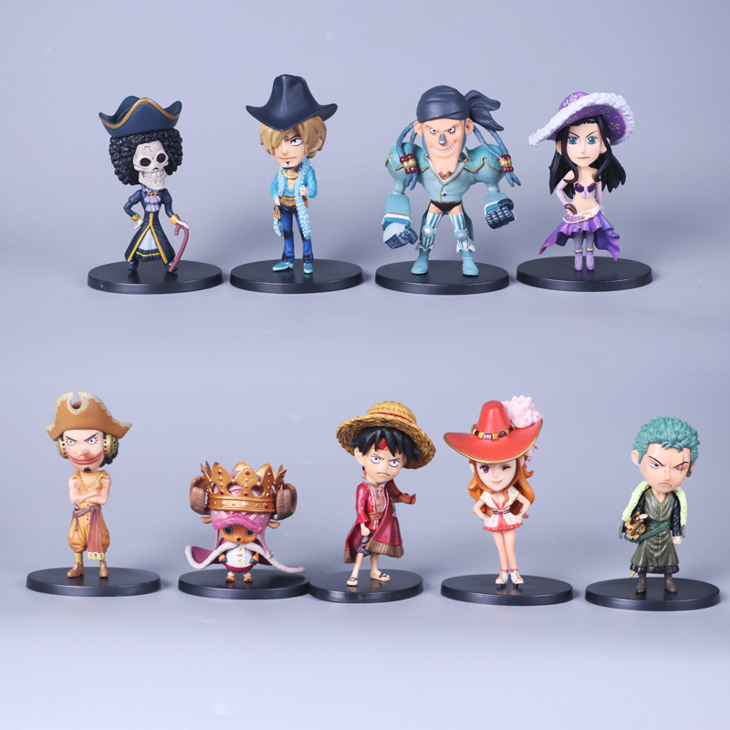 9Parts / sets anime one piece The straw hat Pirates so cool model doll garage kit pvc action figure collection toy genuine megahouse p o p portrait of pirates excellent model limited one piece nefeltari vivi ver bb collection figure